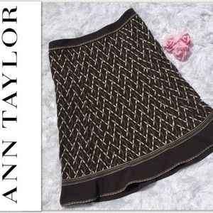 Ann Taylor Skirt Sz 14 Embroidered A Line Brown